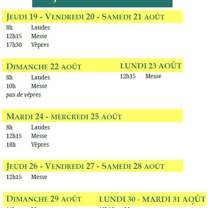 Modification des horaires du 19 au 31 août